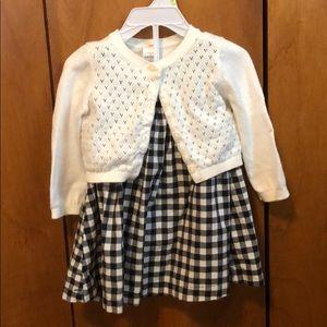 Carter's sleeveless gingham dress with cardigan.